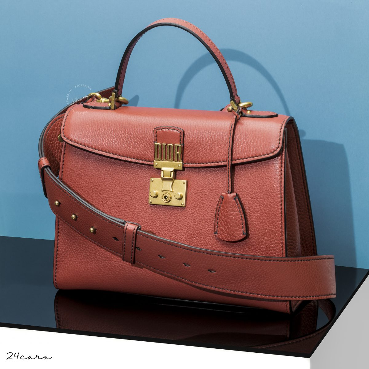 DIORADDICT BAG IN ORANGE GRAINED CALFSKIN