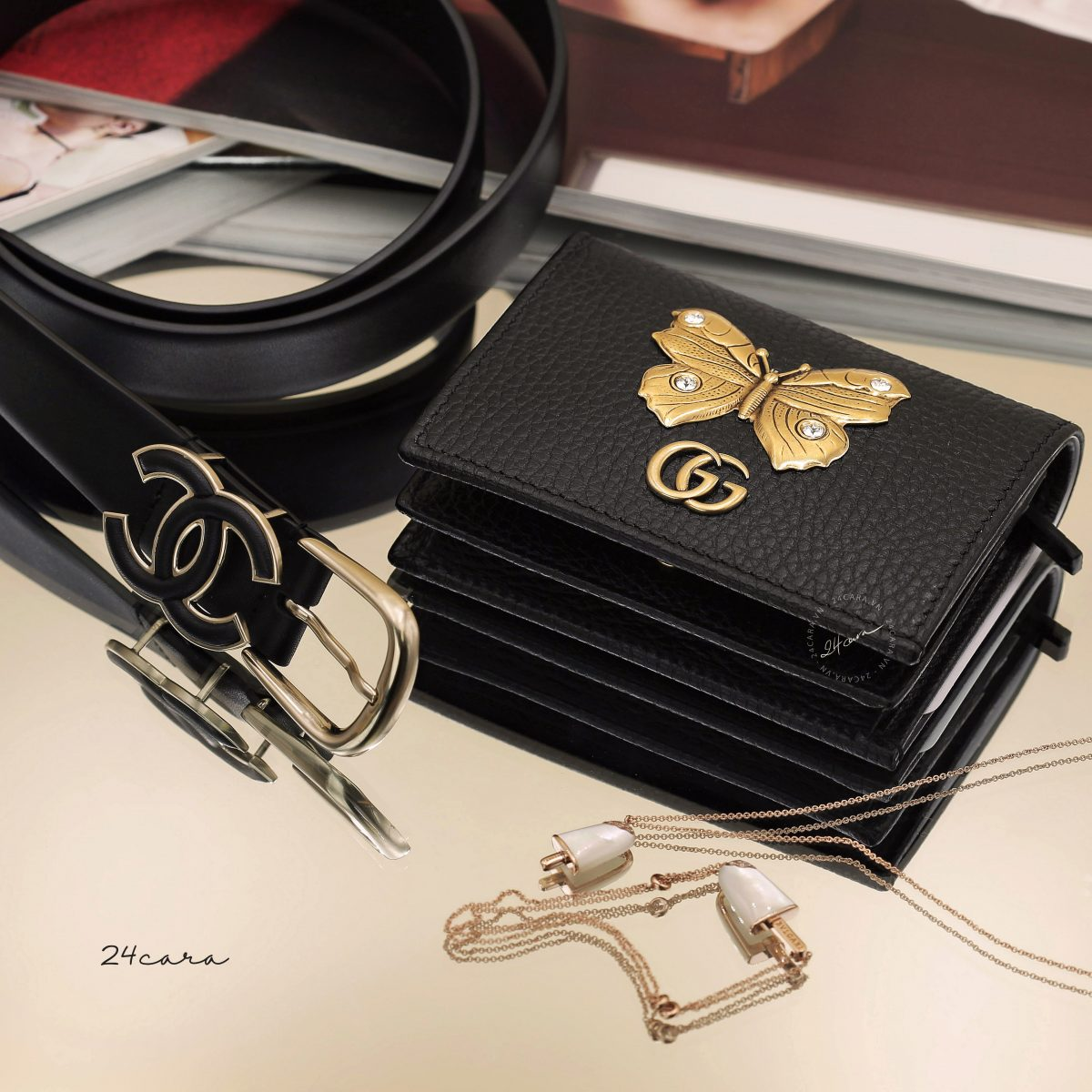 GUCCI BUTTERFLY LEATHER SMALL WALLET