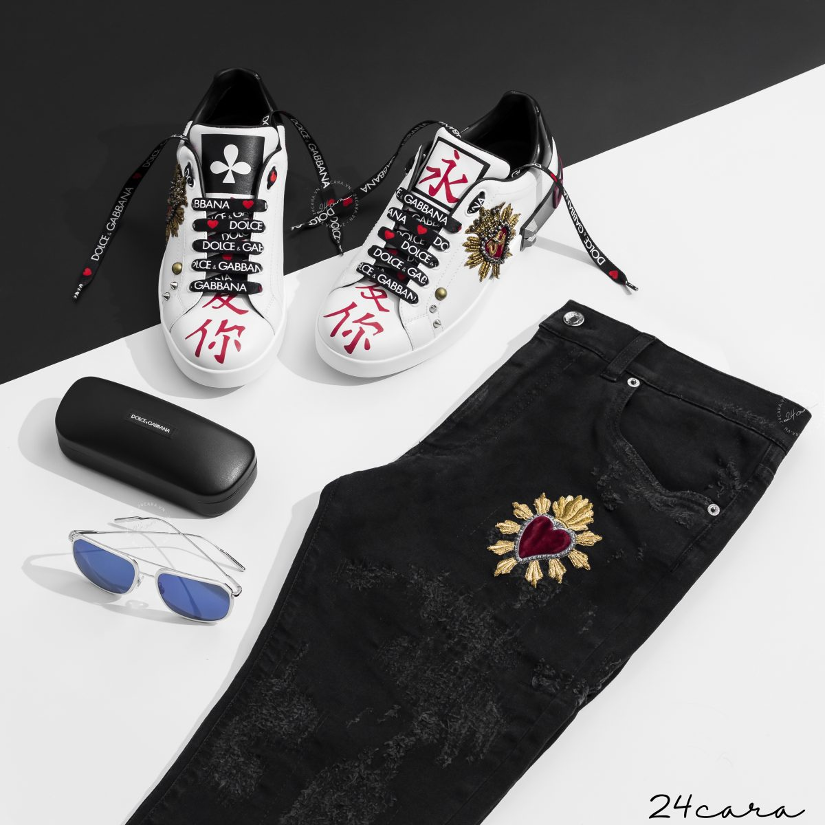 DOLCE&GABBANA KING OF HEART CHINESE APPLIQUE SNEAKER 2018