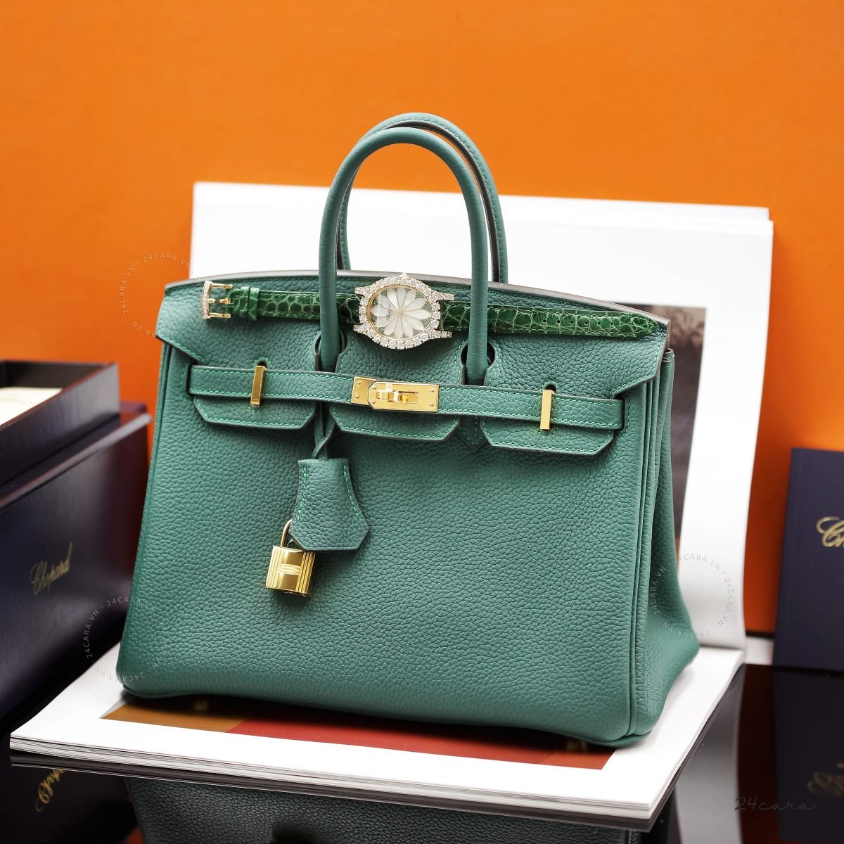 HERMES BIRKIN 30 TOGO MALACHITE LEATHER IN GOLD HARDWARE