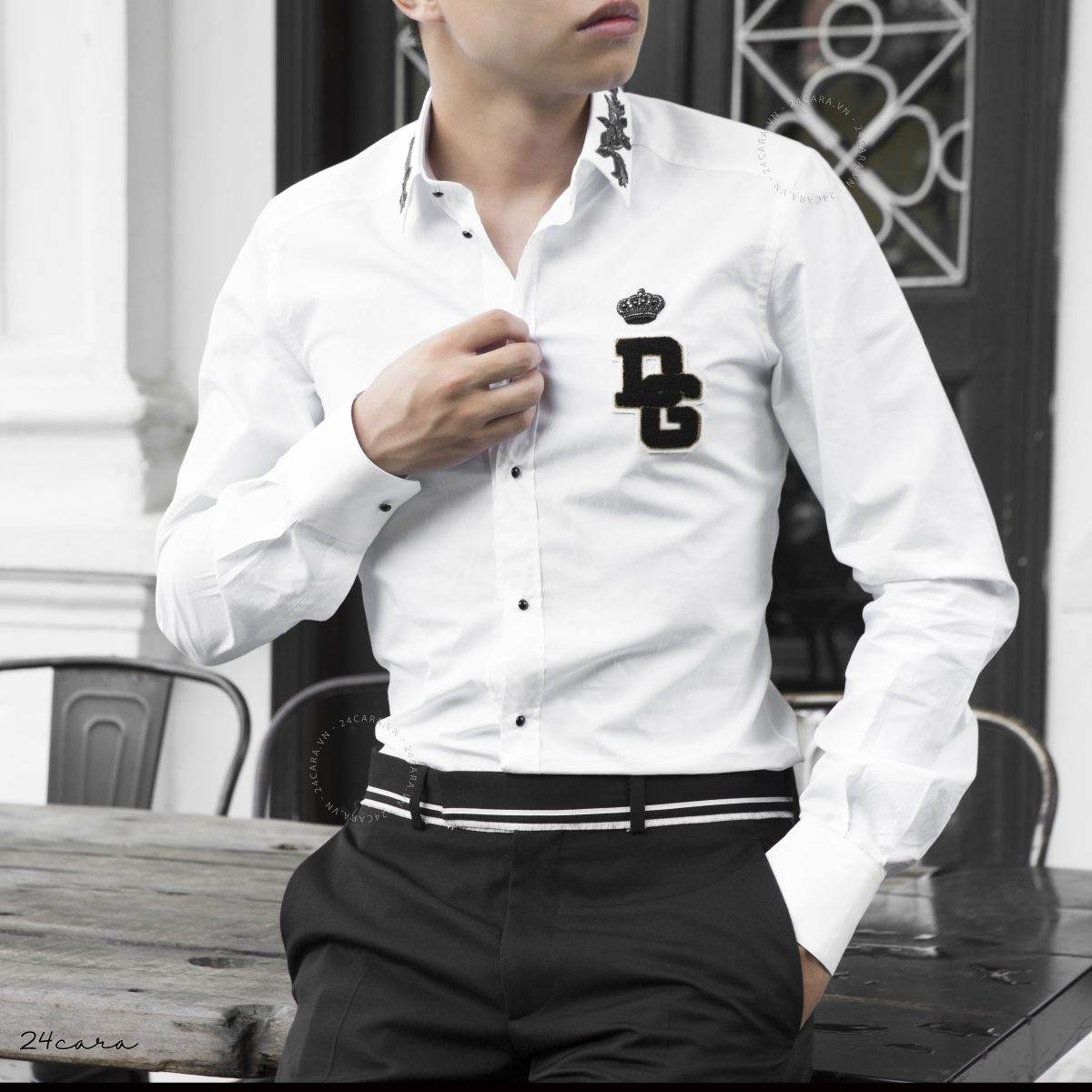 DOLCE&GABBANA PATTERNED COLLAR LOGO EMBROIDERY SHIRT 2018