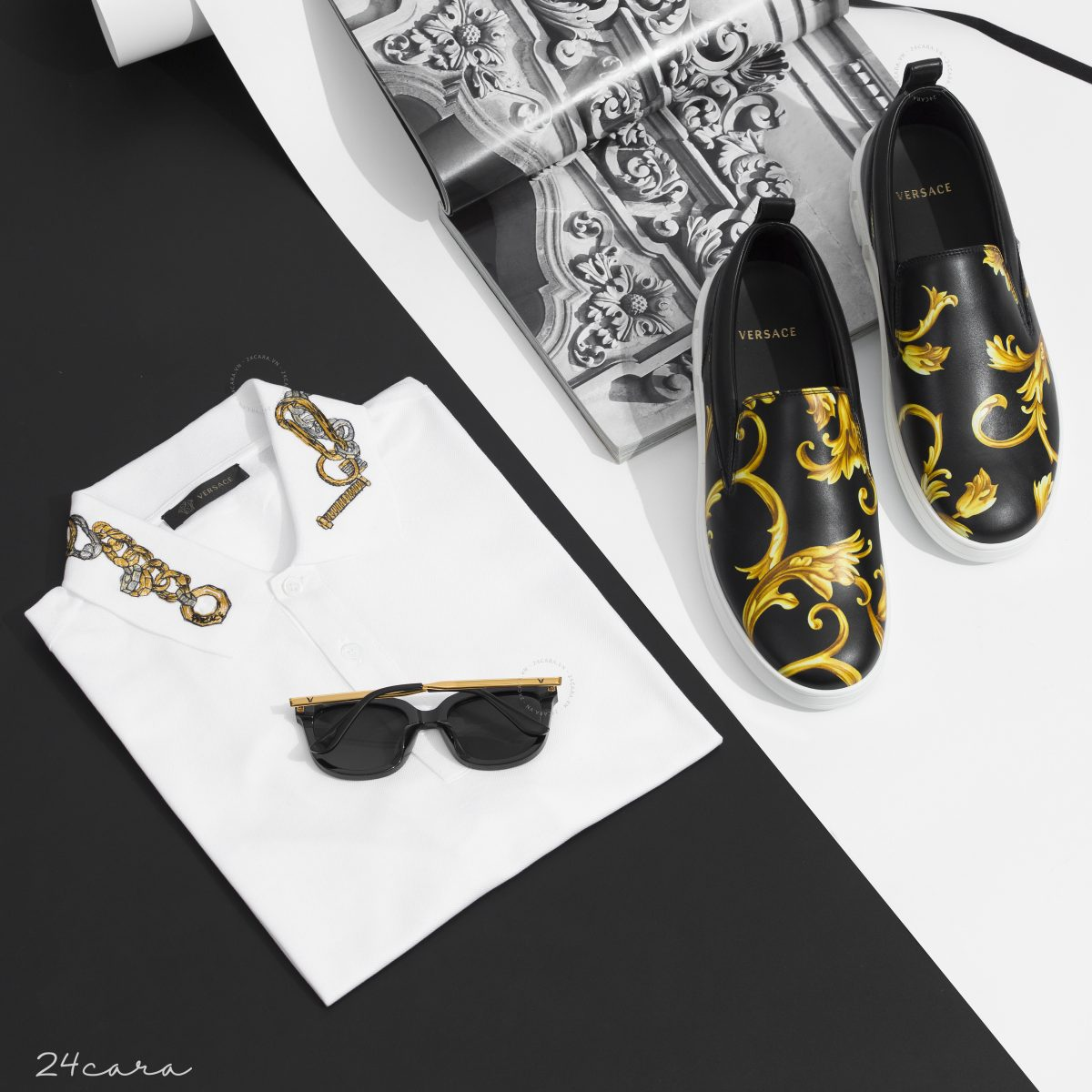 VERSACE GOLD BAROQUE LEATHER SLIP ON
