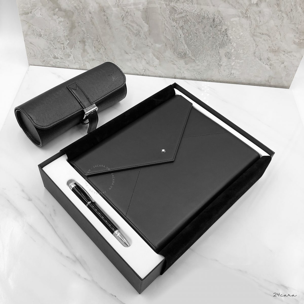 MONTBLANC AUGMENTED PAPER BLACK LEATHER