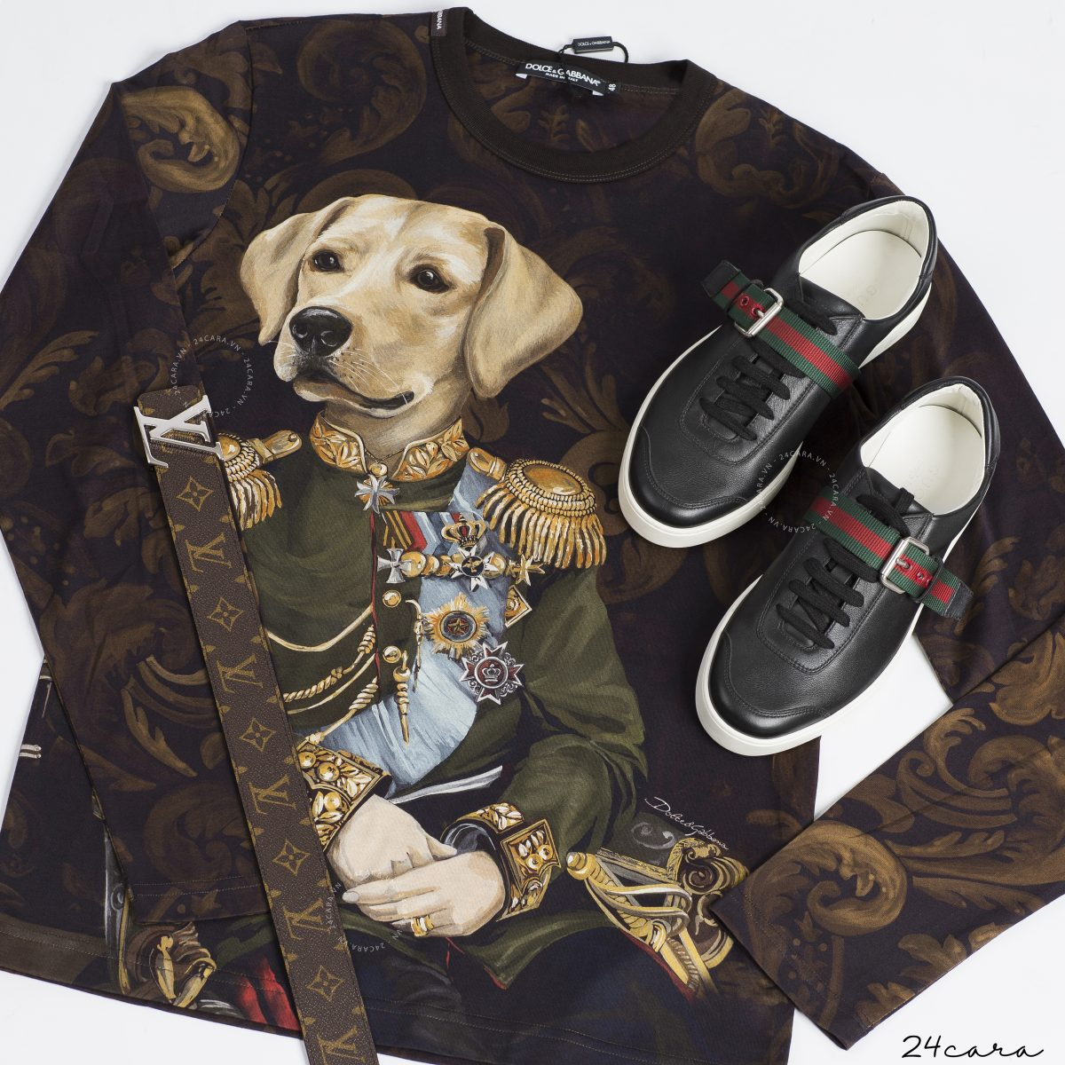 DOLCE & GABBANA PRINTED COTTON LONG SLEEVES T-SHIRT