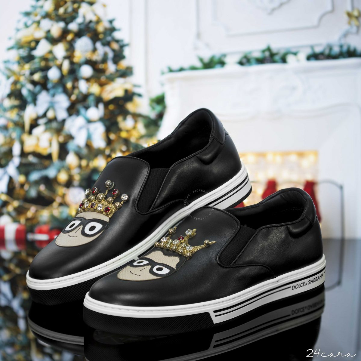 DOLCE&GABBANA SLIP ON WITH PATCHES OF DESIGNERS