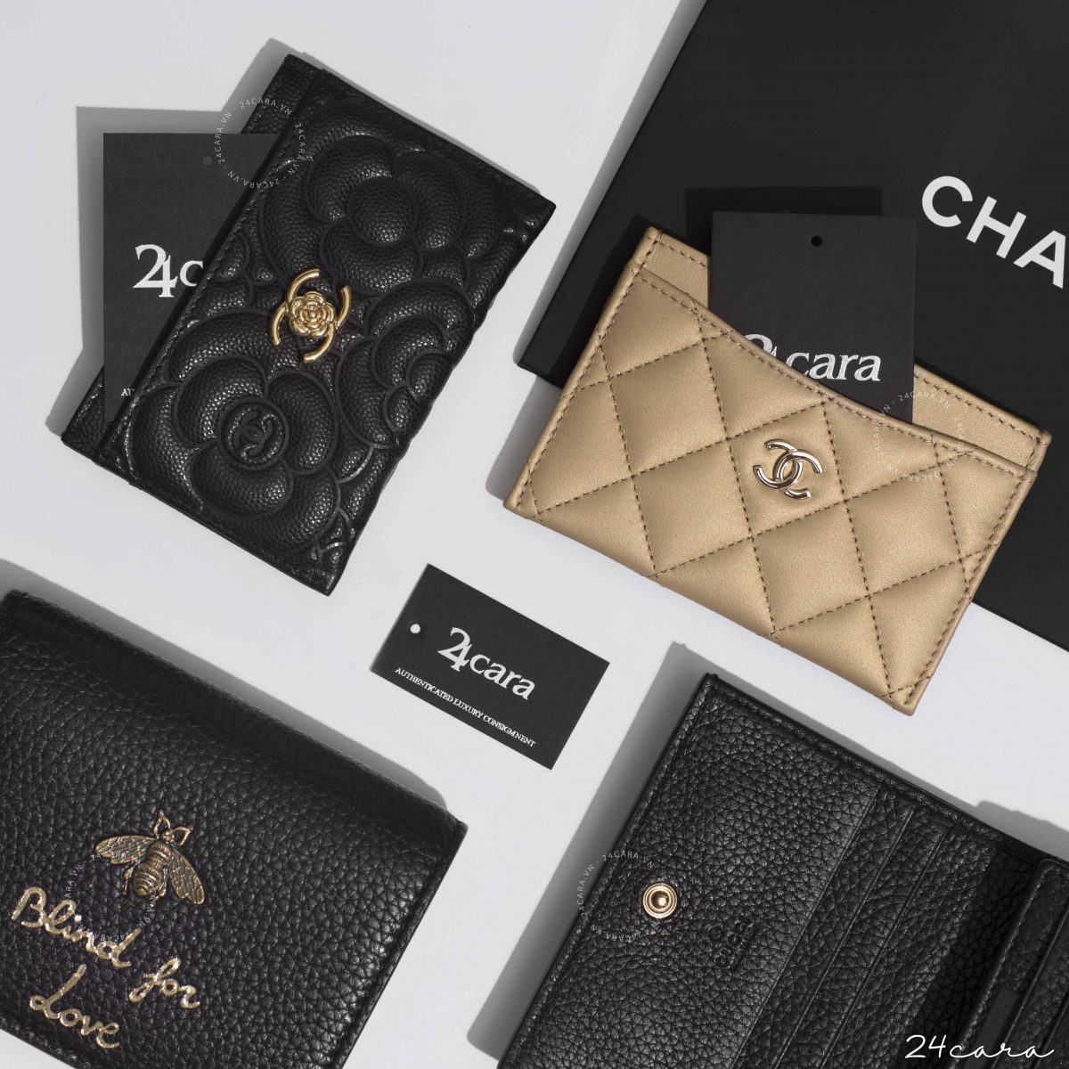 CHANEL CAMELLIA EMBOSSED CAVIAR LEATHER HOLDER