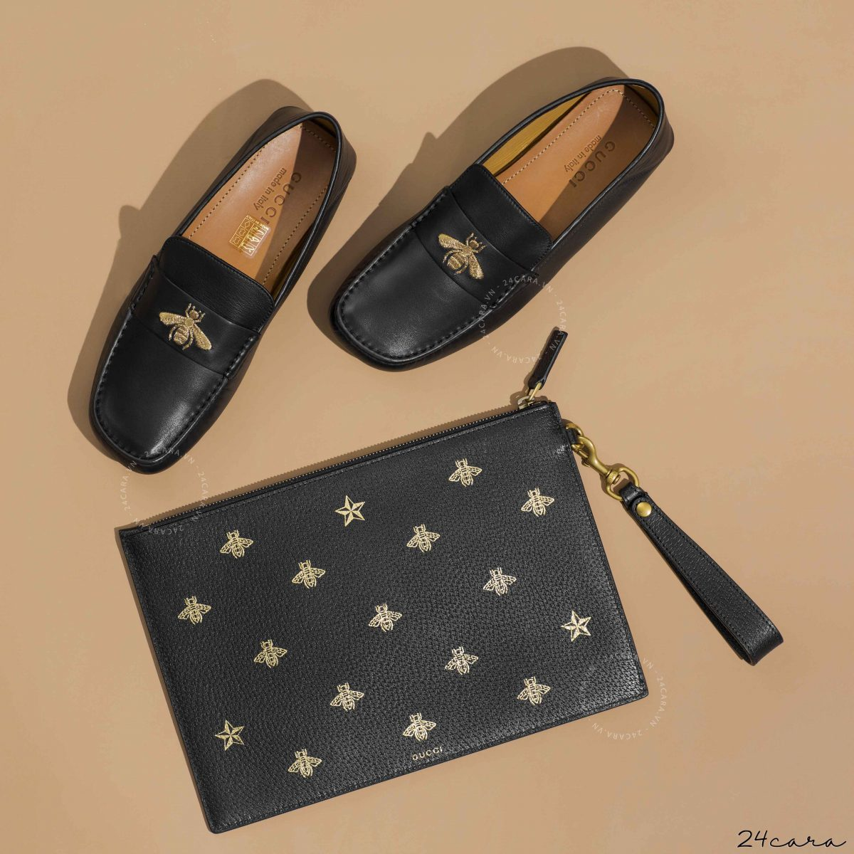 GUCCI BEE STAR LEATHER CLUTCH