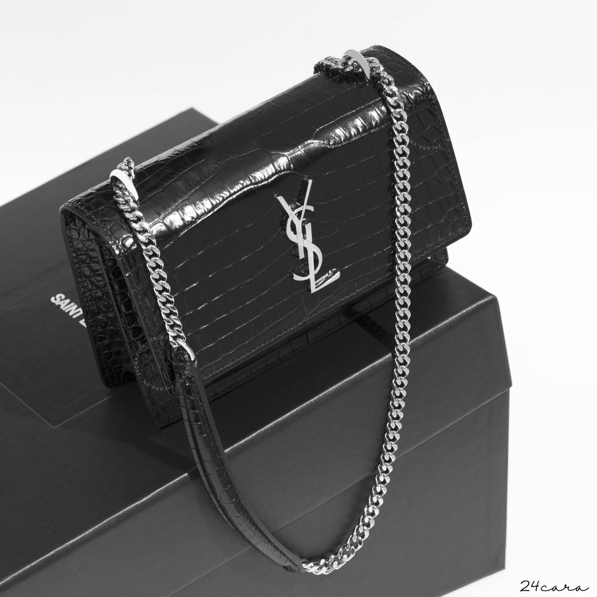 SAINT LAURENT CHAIN WALLET IN CROCODILE EMBOSSED SHINY LEATHER