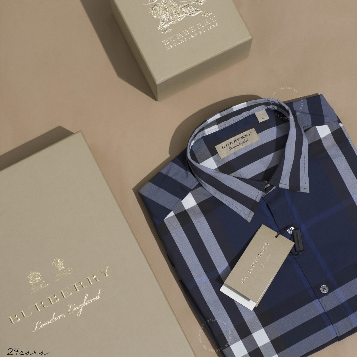 BURBERRY LONDON ENGLAND LONG SLEEVE CHECK COTTON SHIRT