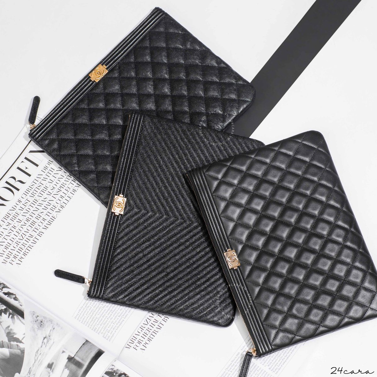 CHANEL BOY O CASE COSMETIC POUCH IN BLACK CAVIAR