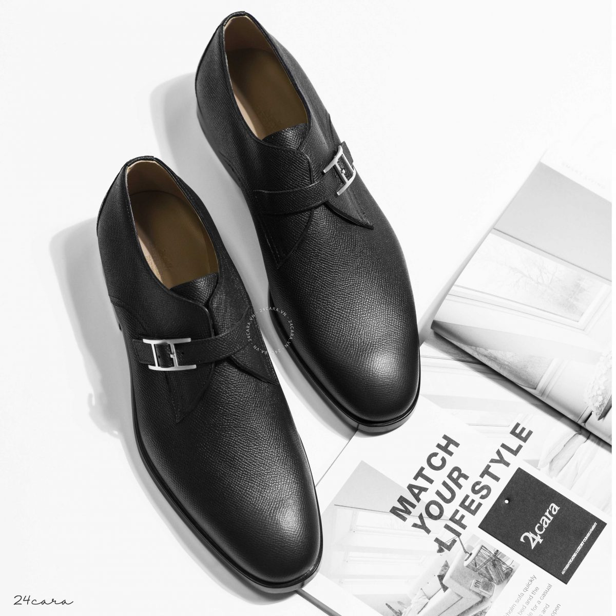 HERMES NORRIS DERBY CALFSKIN LEATHER SHOES