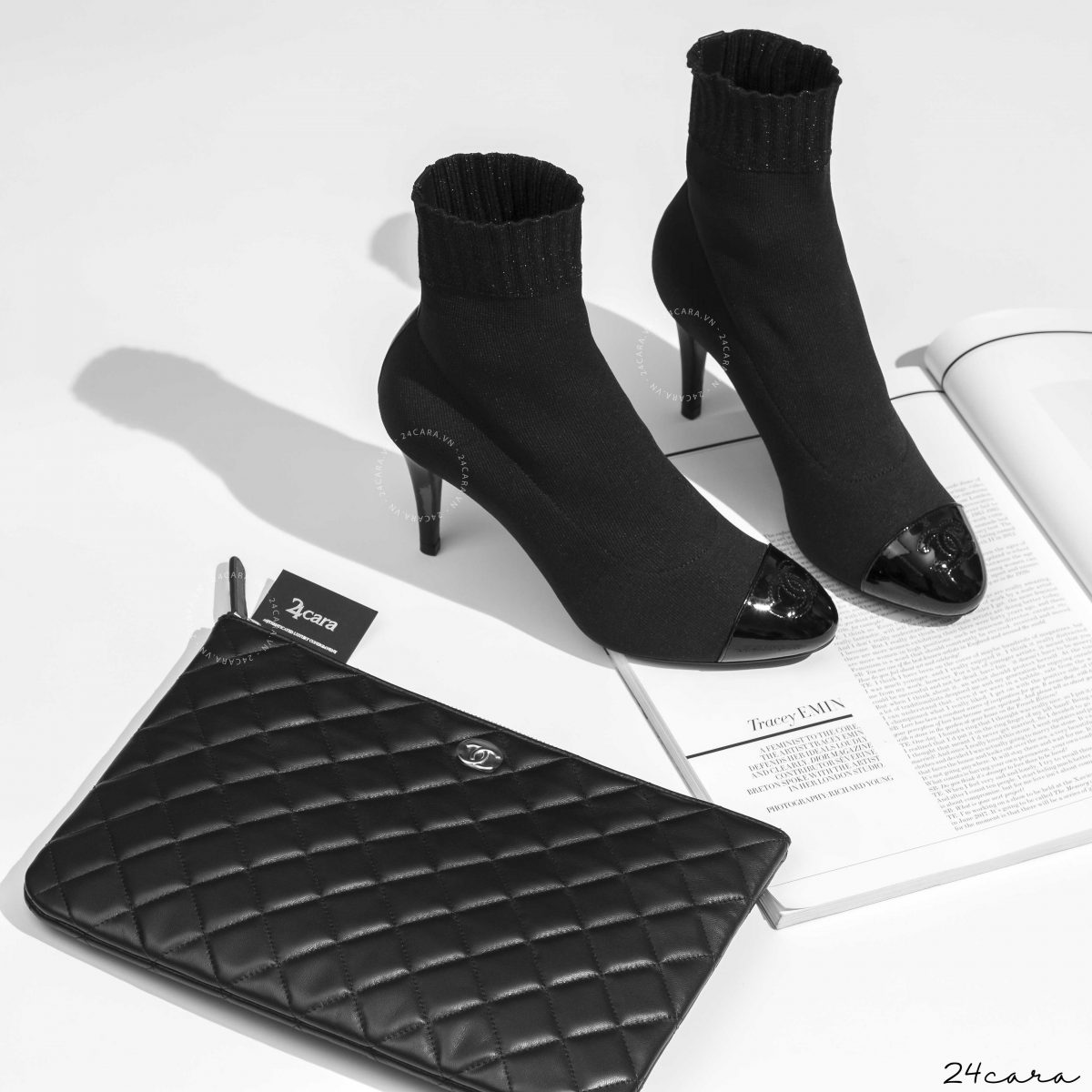 CHANEL BLACK WOOL SHORT BOOTS