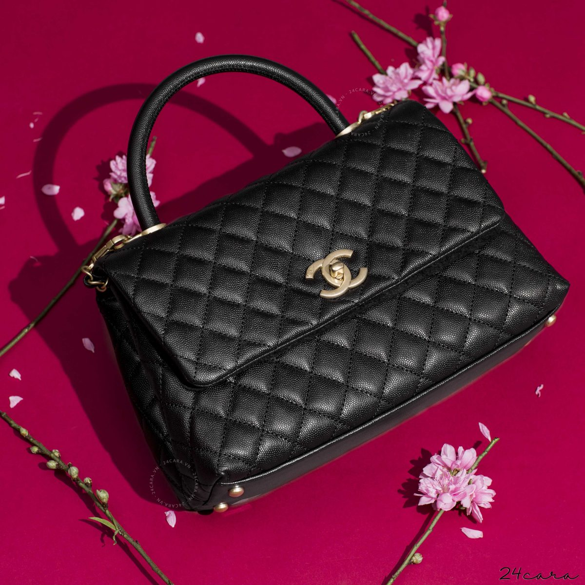 CHANEL COCO FLAP BAG BLACK GRAINED CALFSKIN & GOLD TONE METAL WITH TOP HANDLE