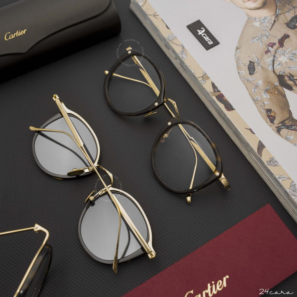 CARTIER SANTOS HAVANA-GOLD-TRANSPARENT EYEGLASSES