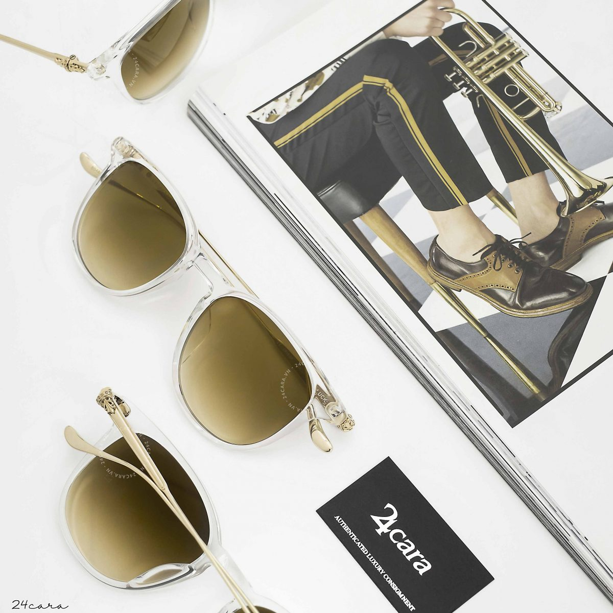 CHROME HEARTS PLUCK CRYS - GOLD PLATE SUNGLASSES