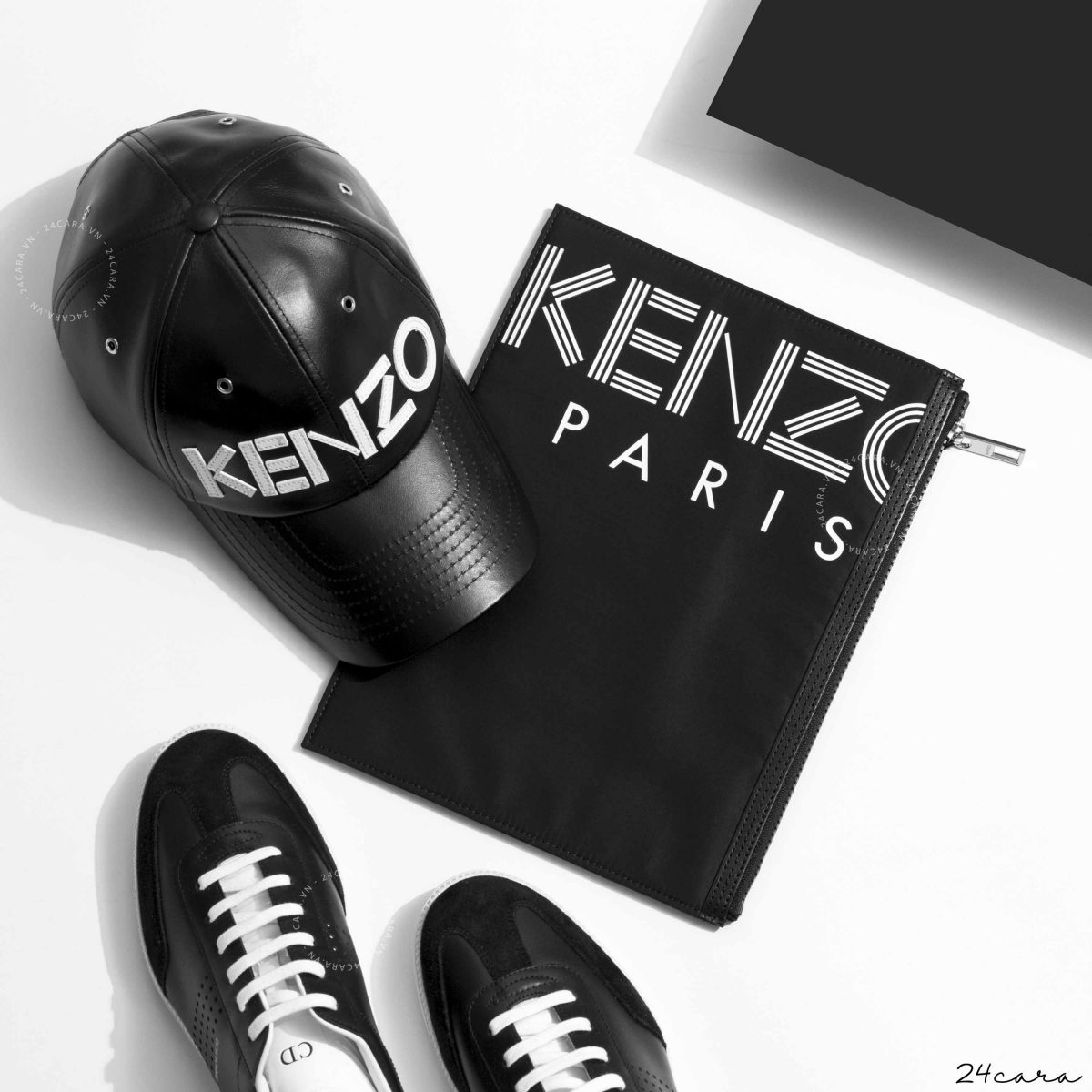 KENZO LOGO BLACK LEATHER CAP