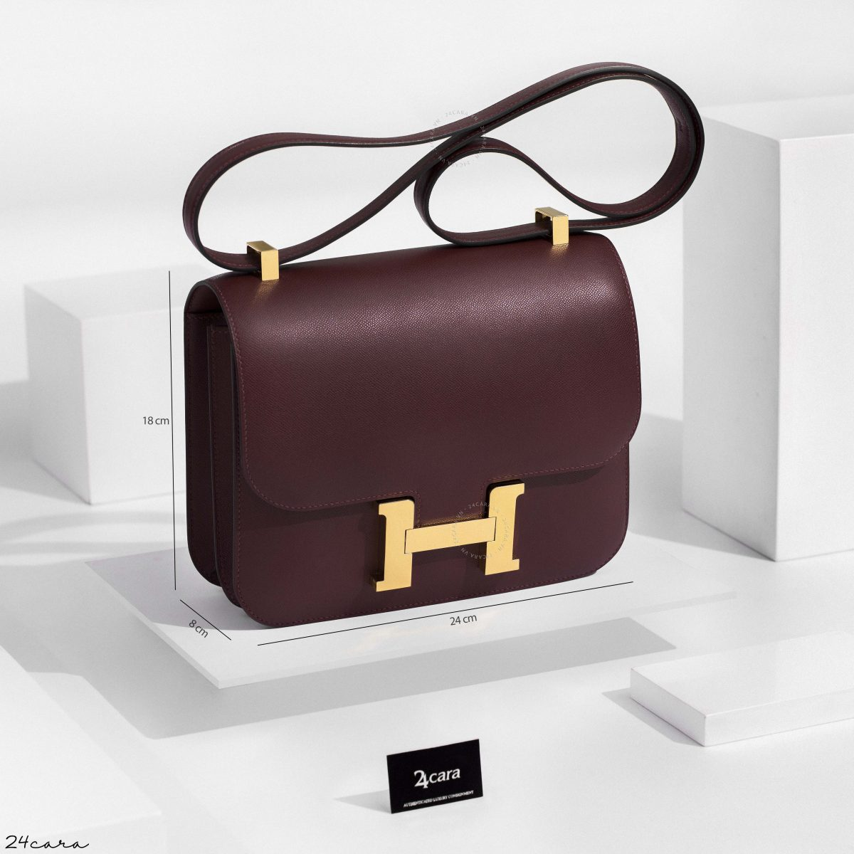 NEW ROUGE H EPSOM HERMES CONSTANCE III 24 | GHW | STAMP D