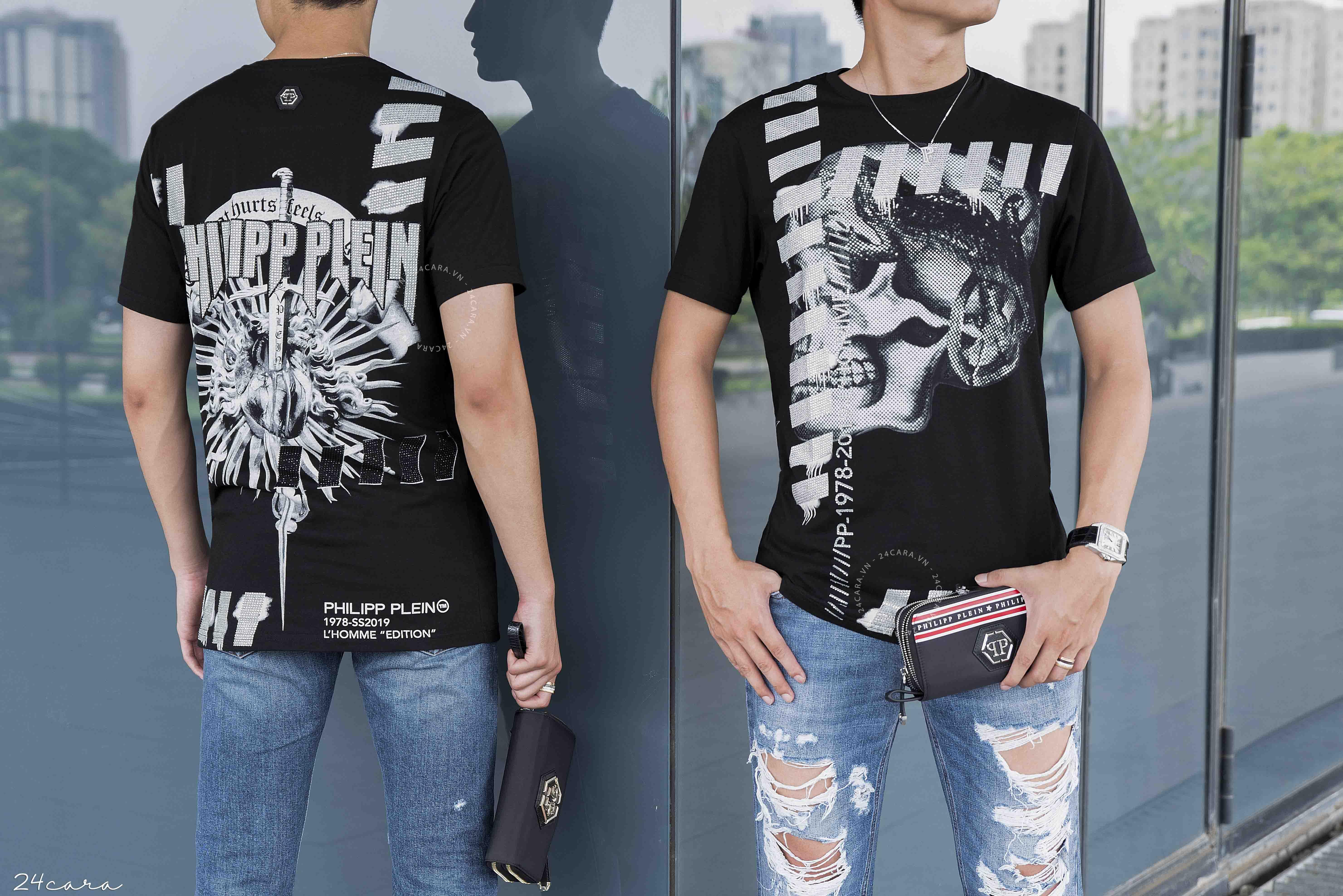 BST chào Hè từ 24Cara đầy nổi bật, trẻ trung và năng động bao gồm áo phông, quần jean và clutch đến từ những thương hiệu thời trang đình đám: Philipp Plein, Dsquared2, Marcelo Burlon, Fendi...
