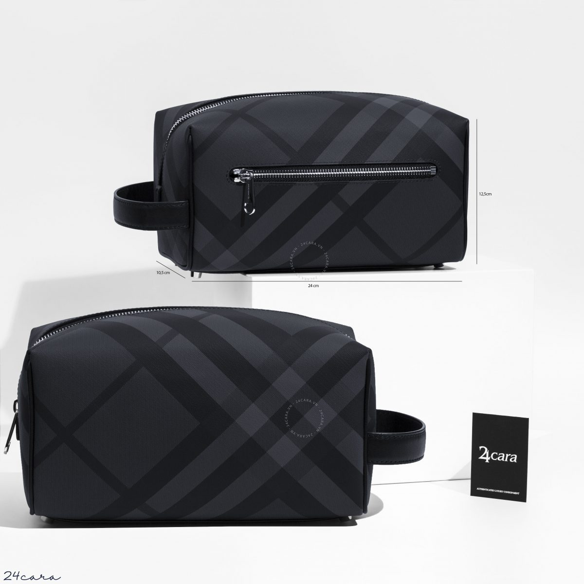 BURBERRY LONDON CHECK AND LEATHER POUCH