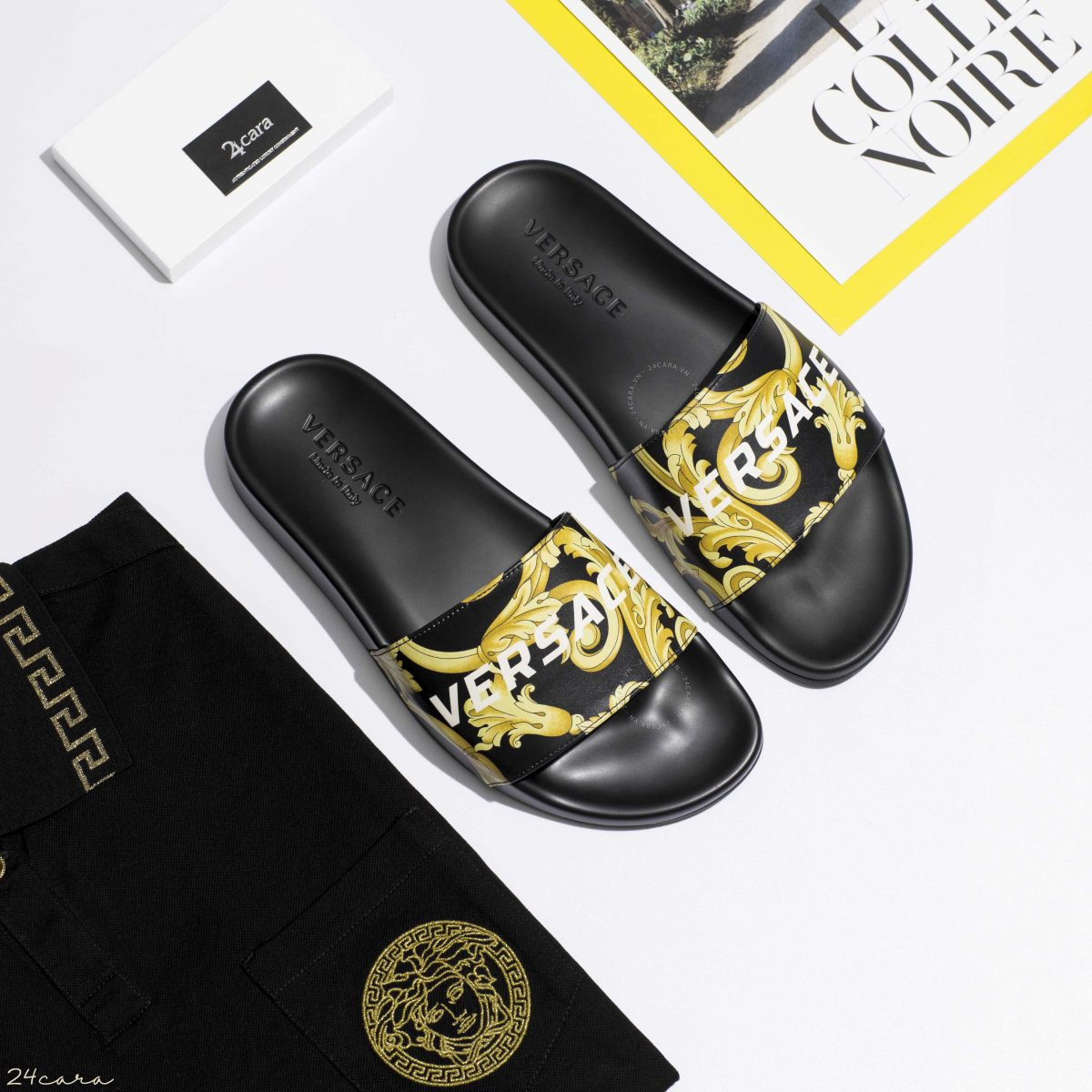VERSACE GOLD HIBISCUS PRINT SLIDES