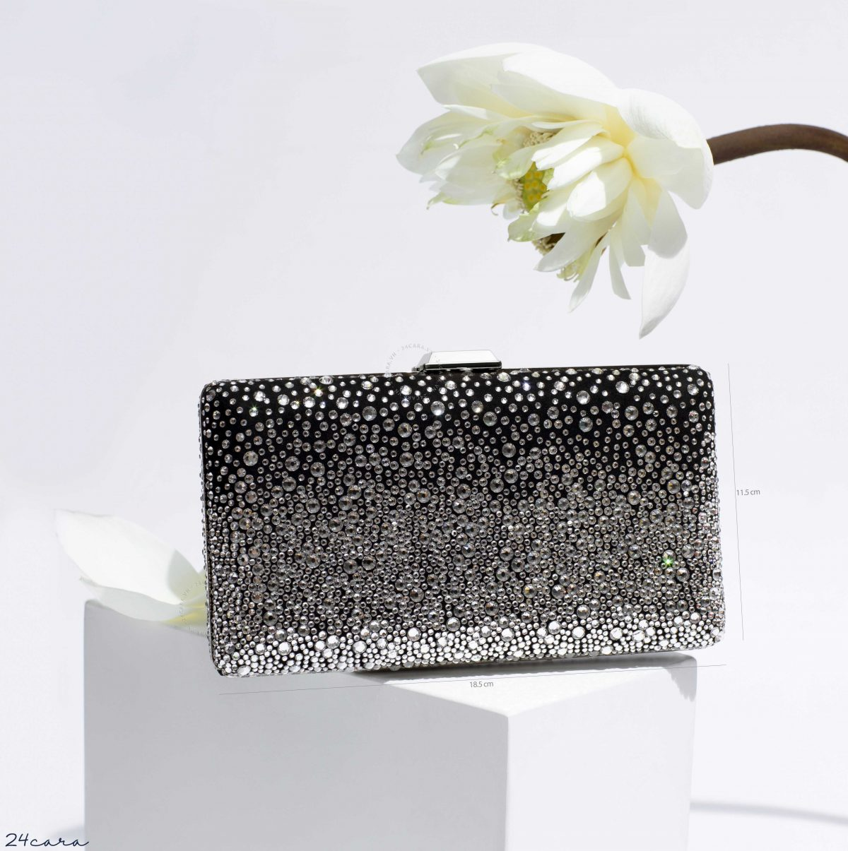JIMMY CHOO CLEMMIE BLACK SUEDE WITH SILVER DEGRADE CRYSTAL HOTFIX CLUTCH BAG