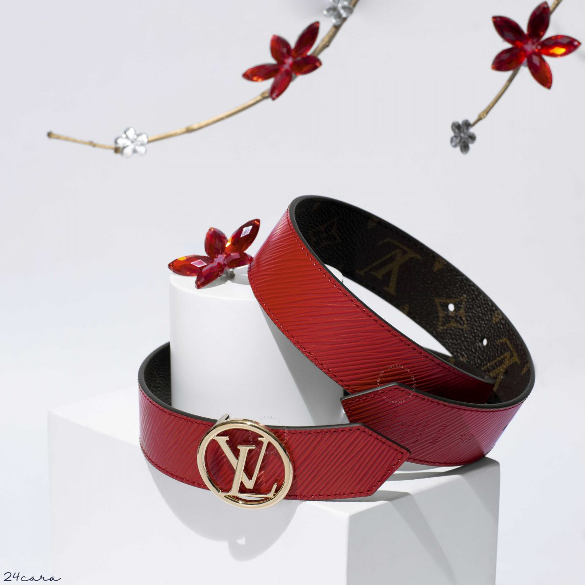LOUIS VUITTON CIRCLE 35MM REVERSIBLE EPI LEATHER BELT