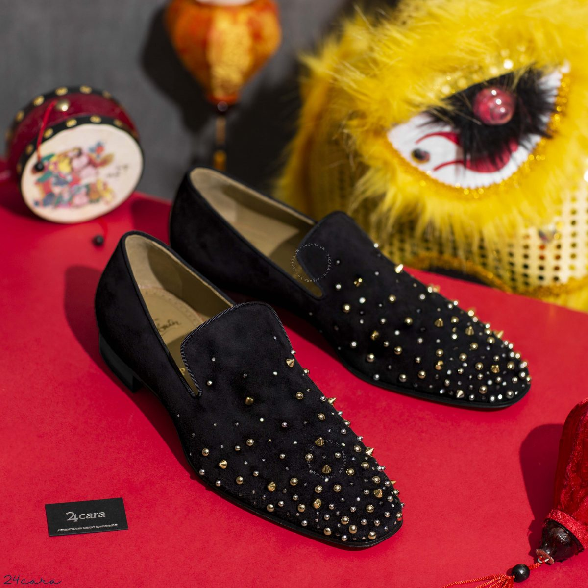 CHRISTIAN LOUBOUTIN MILKYLION FLAT BLACK SUEDE LOAFER