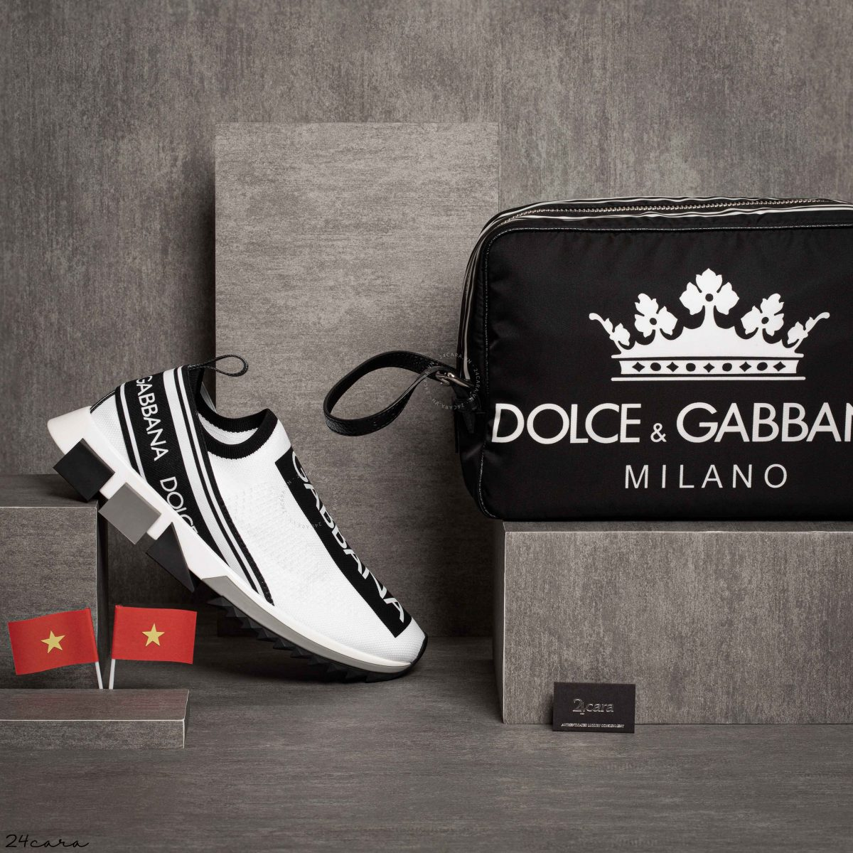 DOLCE&GABBANA MILLENIAL KING CROWN NYLON POUCH BAG