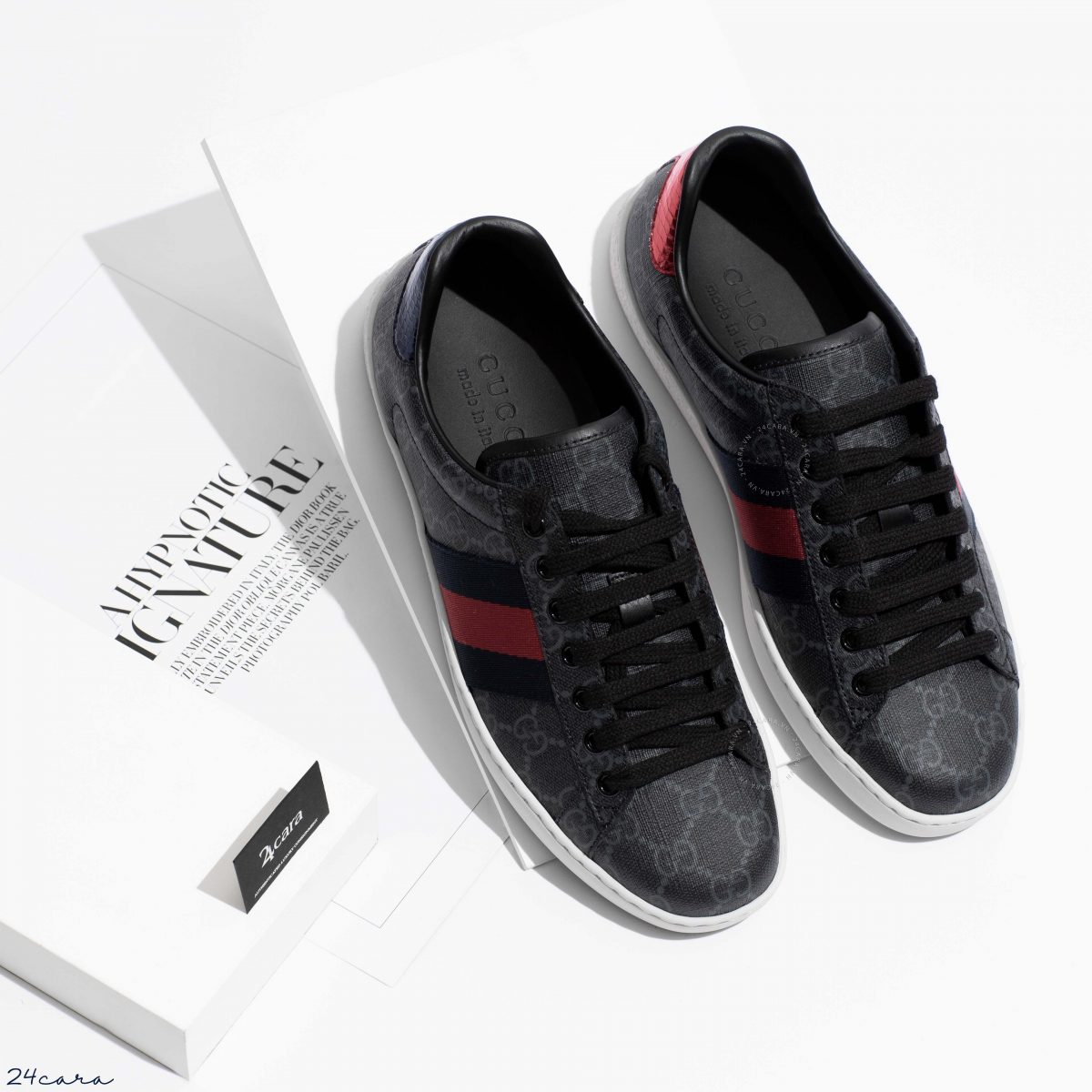 GUCCI GG BLACK SUPREME LOW TOP WITH WEB SNEAKERS