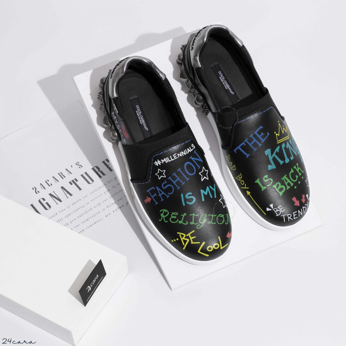 DOLCE & GABBANA PORTOFINO IN CALFSKIN SLIP ON SNEAKERS