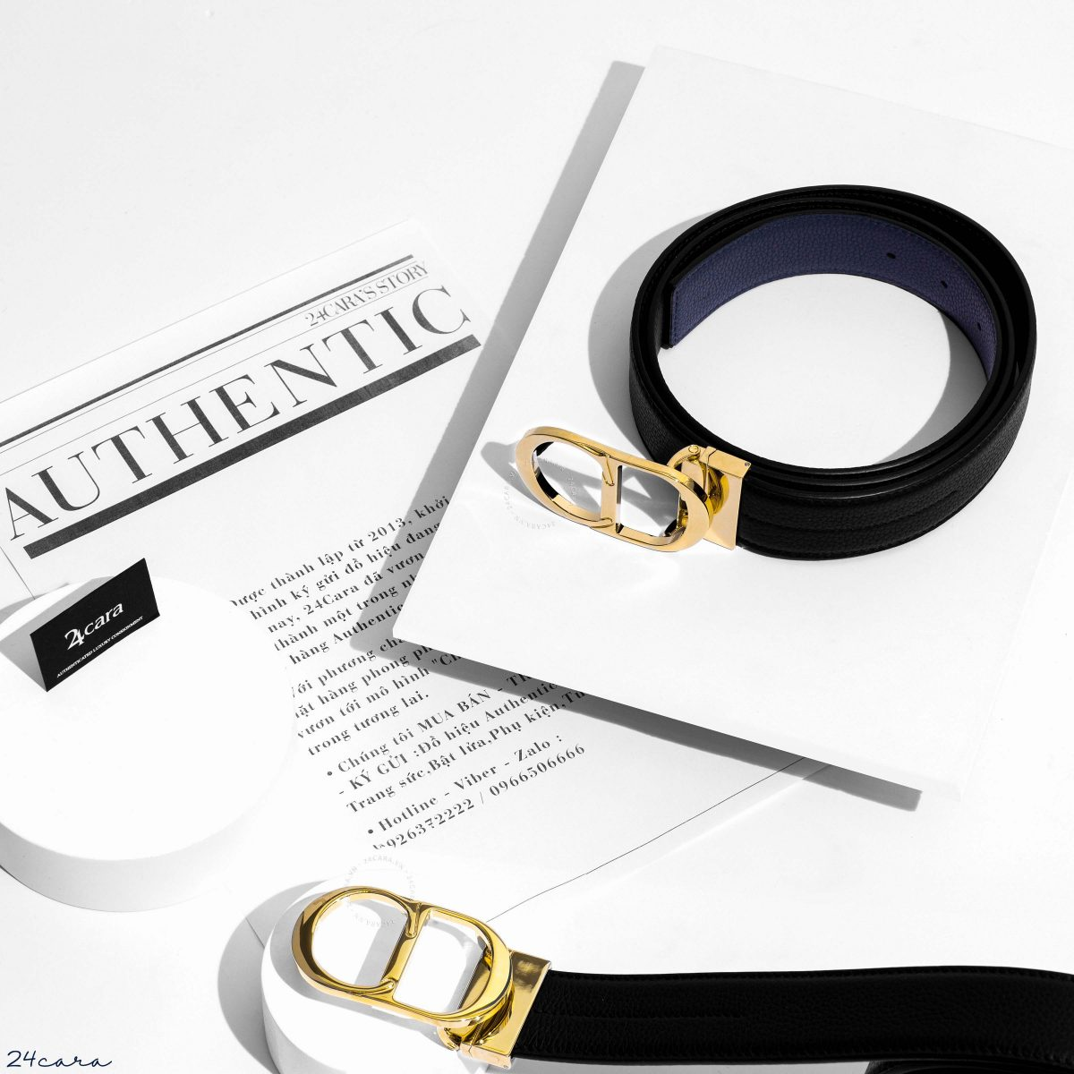 CHRISTIAN DIOR IN BLACK AND NAVY BLUE GRAINED CALFSKIN 35 MM BELT