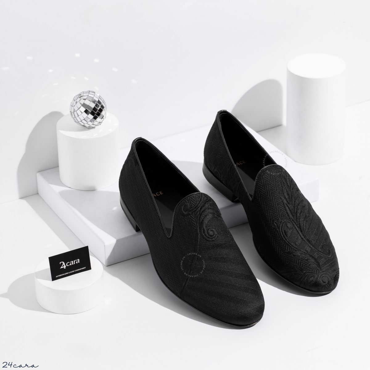 VERSACE BAROQUE EMBOSSED SLIPPER