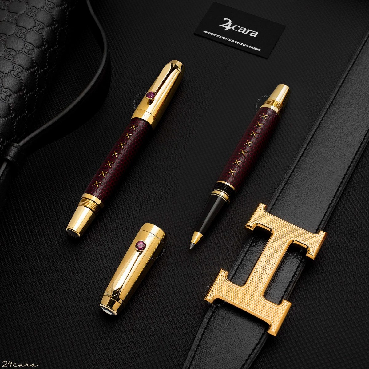 MONTBLANC BOHEME JEWELS RHODOLIT / RED LEATHER ROLLERBALL